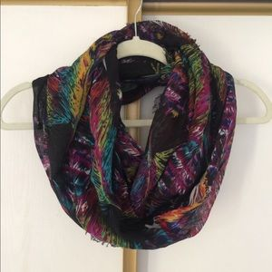 Colorful frayed infinity scarf